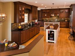 Kitchen Design Traditional Decor Two Tone Kitchen Cabinets And Pendant Lighting With Wood
