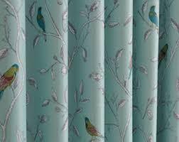 Teal Bird Curtains Grommet Curtains Etsy