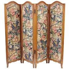 folding screen room divider small french folding screen with floral tapestry for sale at 1stdibs