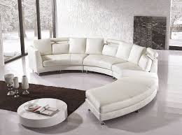 Curved Sofa Leather Furniture Sleek White Half Moon Curved Leather Chaise Lounge