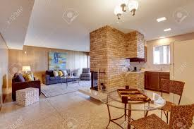 basement open floor plan living room with dining and kitchen
