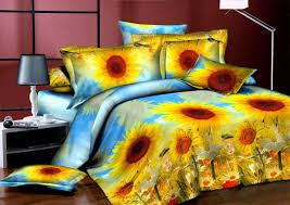 Sunflower Bed Set Wholesale Luxury 3d Painting Flower Bedding Set King