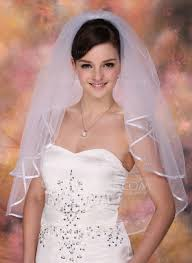 bridal veil two tier bridal veils with ribbon edge 006005419 wedding
