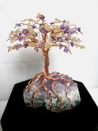 tree of life home decor amethyst cluster copper wire tree of life with amethyst u0026 citrine