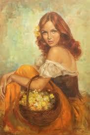 leo jansen leo jansen woman with a basket of yellow flowers leo jansen