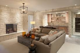 awesome white stoned basement room finishing design feat comfy