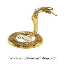 ornament gold king cobra snake ornament or desk model swarovskiâ