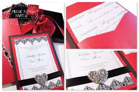 Red And Black Wedding Invitations Red White And Black Brocade Romance Musical Wedding Invitation And