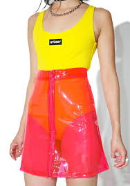 high waisted skirt brashy crystalline pink transparent high waisted skirt dolls kill