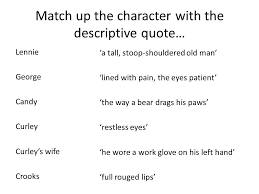 Curley S Quotes Of Mice And Men Revision Quiz Match Up These Characters With