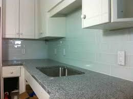 grey white kitchen decoration using white glass subway tile