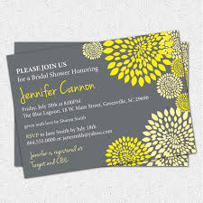 bridal shower invitation printable yellow and charcoal grey