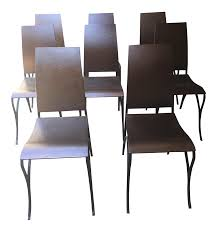 Copper Dining Room Table Custom Copper U0026 Iron Dining Chairs Set Of 8 Chairish
