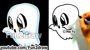 how to draw easy things learn to draw a cartoon ghost halloween