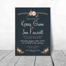 Wedding Invitations Kerry Wedding Invitation Floral Chalkboard Design
