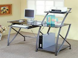 Steel Frame Desk White Computer Table White Glass Desk With Drawers Compact Corner