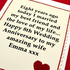 8th wedding anniversary gifts for him personalised 8th wedding anniversary card by arnott cards