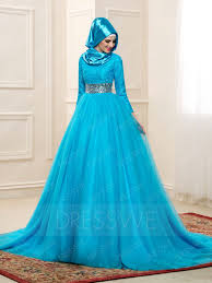 islamic wedding dresses delicate lace sleeves high neck a line muslim wedding dress