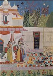 Miniature by Krishna And The Gopis Take Shelter From The Rain 1760 Indian
