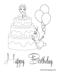 elsa olaf cake colouring coloring pages printable