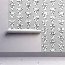 shark tooth sharks shark fabric wallpaper by andrea lauren