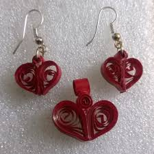 quilling earrings set quilling paper heartshaped pendant ear rings
