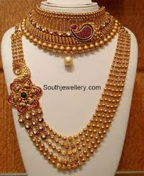 gold chain collar necklace images Antique gold choker and long chain jewellery designs chain collar jpg