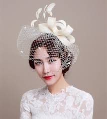 wedding headdress 2016 bridal hat fascinator handmade linen beige birdcage veil