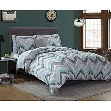 green bed set essential home complete bed set chevron gray mint