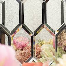 beveled paris gray hexagon mirror glass tile hollywood hills