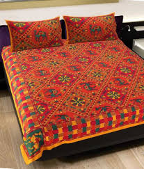 Buy Cheap Double Bed Sheets Online India Grj India Pure Cotton Rajasthani Print 4 Double Bed Sheet With 8