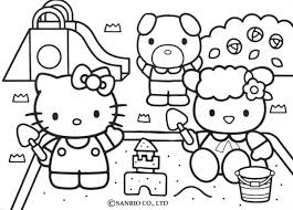 Hello Kitty Building A Sand Castle Coloring Pages Hellokids Com Sandcastle Coloring Page