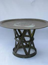Brass Tray Table Vintage Etched Brass Tray Table W Solid Brass Campaign Stool Base
