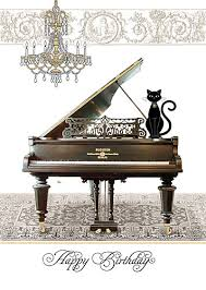 piano cat birthday card from bug art tattypuss kitten gift