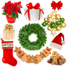 christmas decorations wreath hat red sock gift box baubles stock
