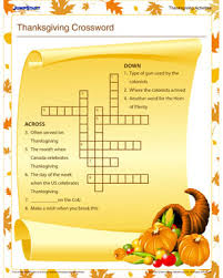 thanksgiving crossword free activities for