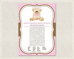 teddy bear baby shower invitations word search teddy bear baby shower games pink brown word