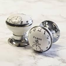 mortice glass door knobs pushka home vintage chic paris clock porcelain ceramic internal