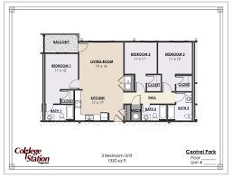 3 bedroom unit floor plans central park apartment in tuscaloosa al