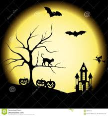 halloween silhouettes and full moon stock vector image 58485273