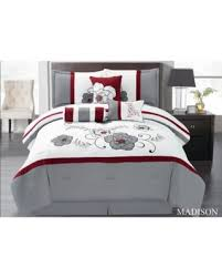 Bed In A Bag King Comforter Sets Amazing Deal On Wpm 7 Pieces Complete Bedding Ensemble Grey White