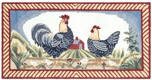 Rooster Rugs For The Kitchen Safavieh Durarug Blue Rooster Area Rug U0026 Reviews Wayfair