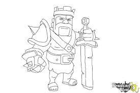 draw clash clans barbarian king drawingnow
