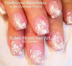 easy snowflake nails diy pink and white glitter nail art design