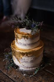 blue gold leaf cake buttercream luxe victorian wedding ideas