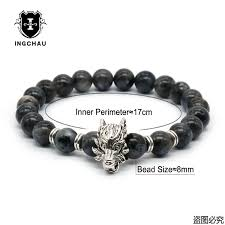 silver energy bracelet images 8mm silver plated animal wolf head bracelet with natural black jpg