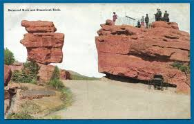 vintage postcard balanced rock and steamboat rock in the garden