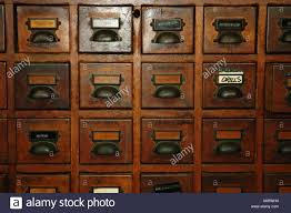 Timber Filing Cabinets Old Timber Card File Cabinet Used For Tool Storage Stock Photo