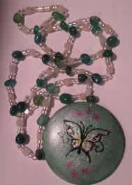 green agate necklace images Hand painted wood butterfly focal with genuine green agate png