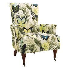 linon 368322jan01u junnell arm chair in botanical print u0026 dark walnut